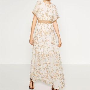 Zara Trafaluc Off White Tan Embroidered Maxi Dress